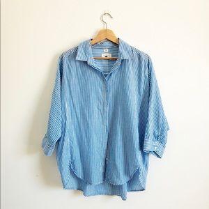 LOFT Softened Shirt Button Down Blue Stripe L